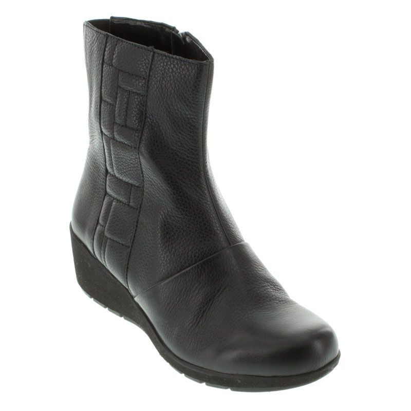 Aetrex Jane Ankle Zip Black Boots