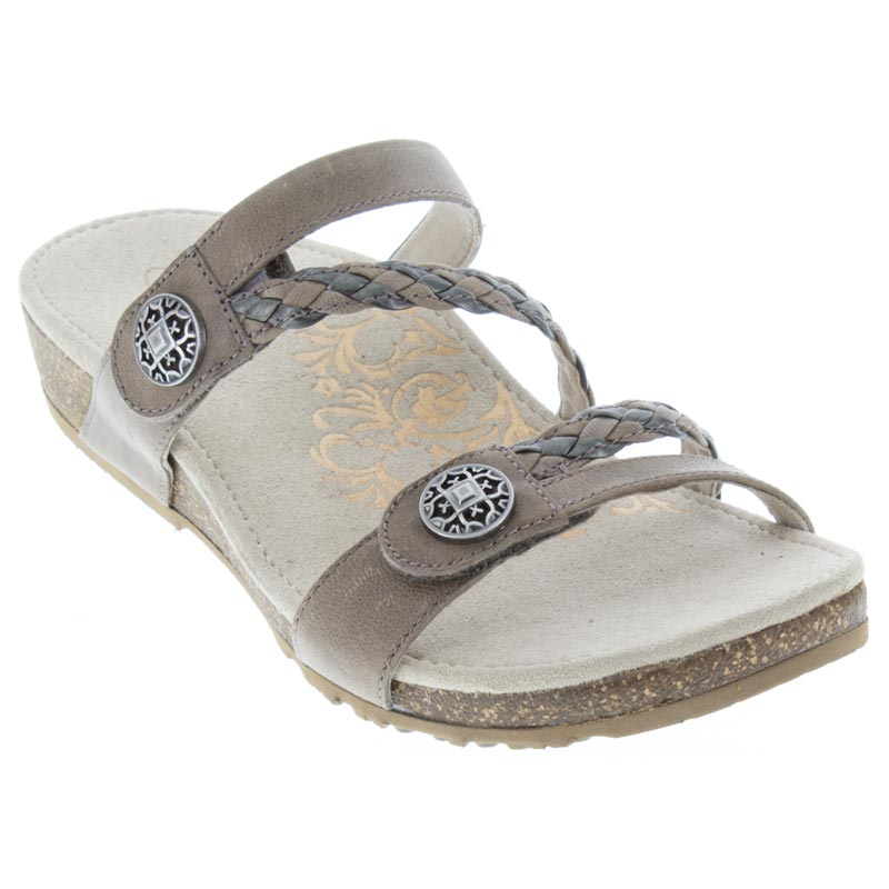 Aetrex Janey Leather Stone Sandals