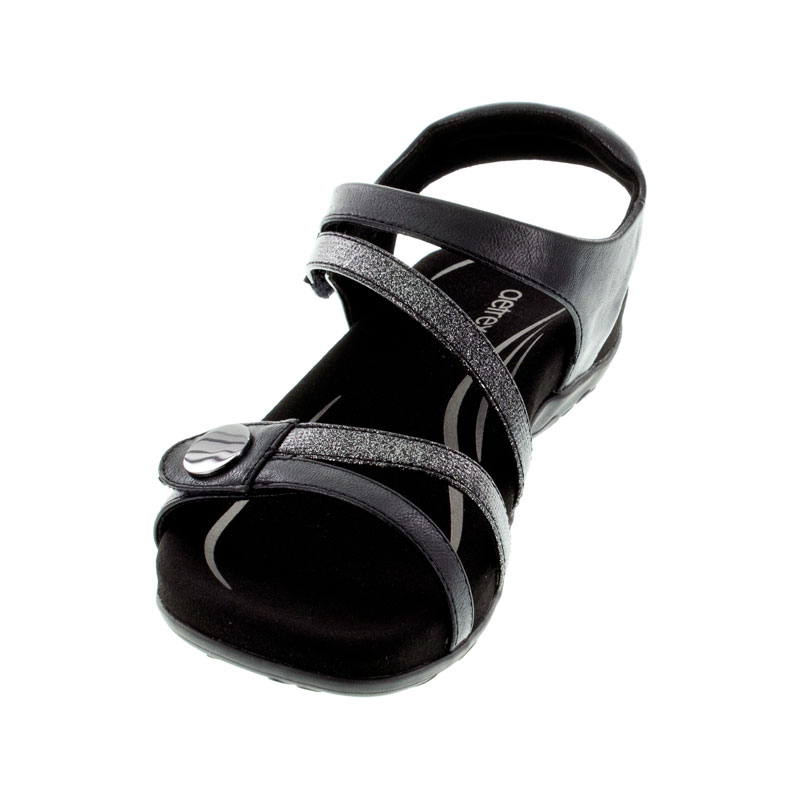 Aetrex Jess Black Synthetic Vegan Sandals left front view