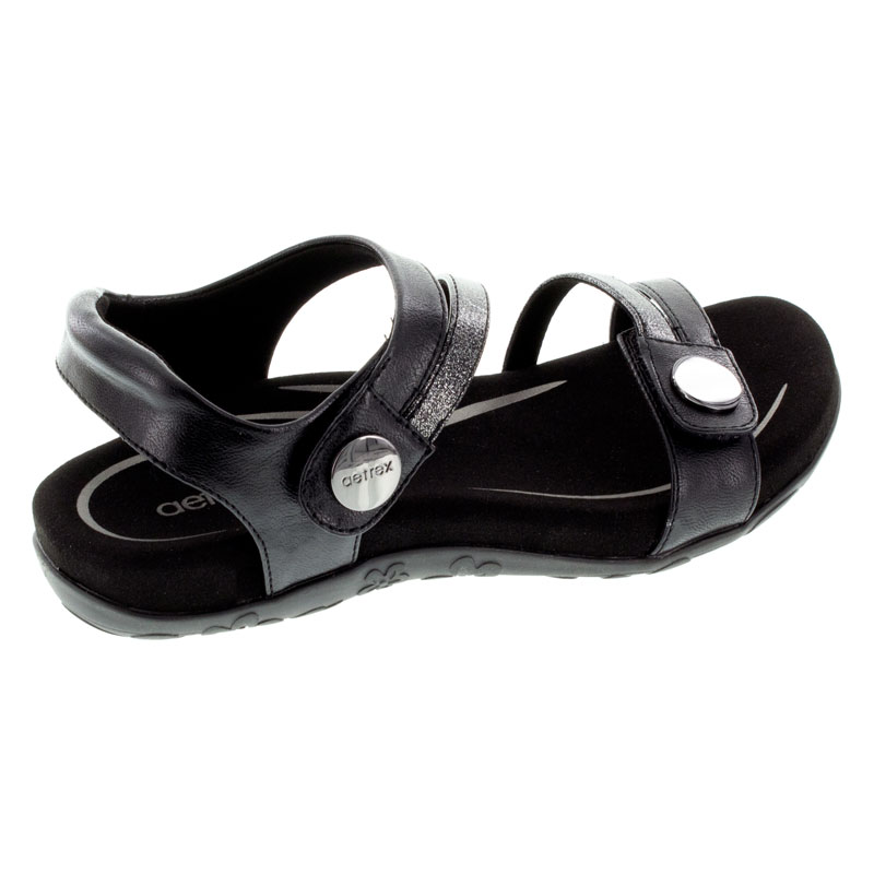 Aetrex Jess Black Synthetic Vegan Sandals right side view