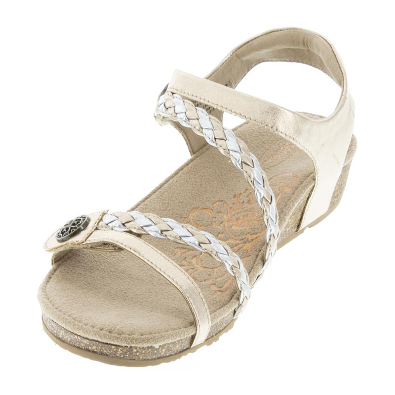 Aetrex Jillian Gold Leather left side front right shoe
