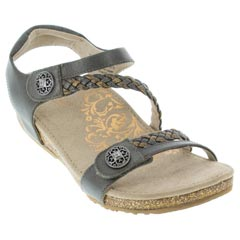 Aetrex Jillian Leather Gunmetal Sandals