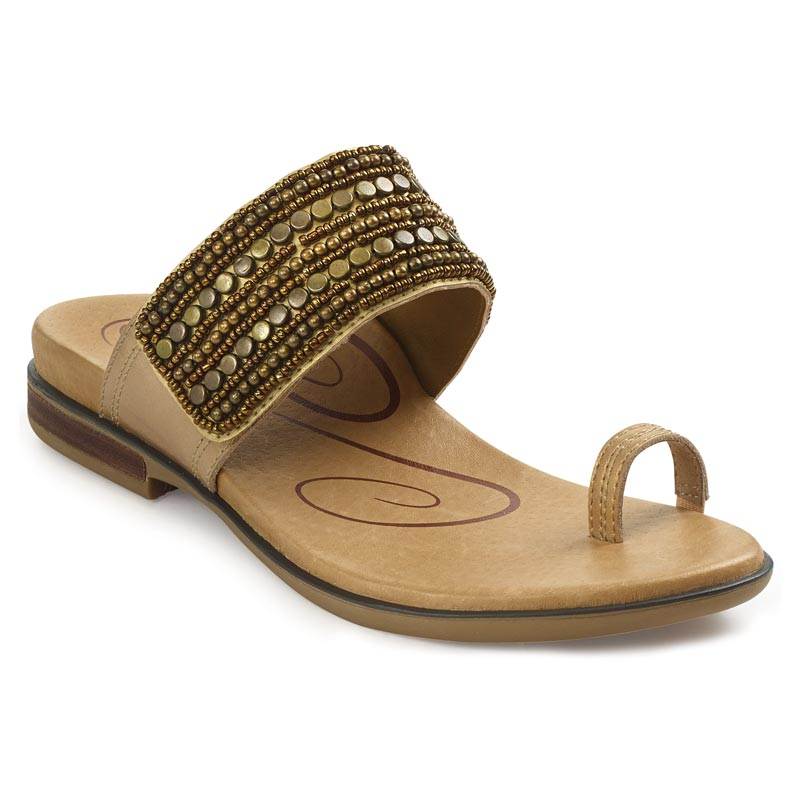 Aetrex Layla Light Gold Sandals