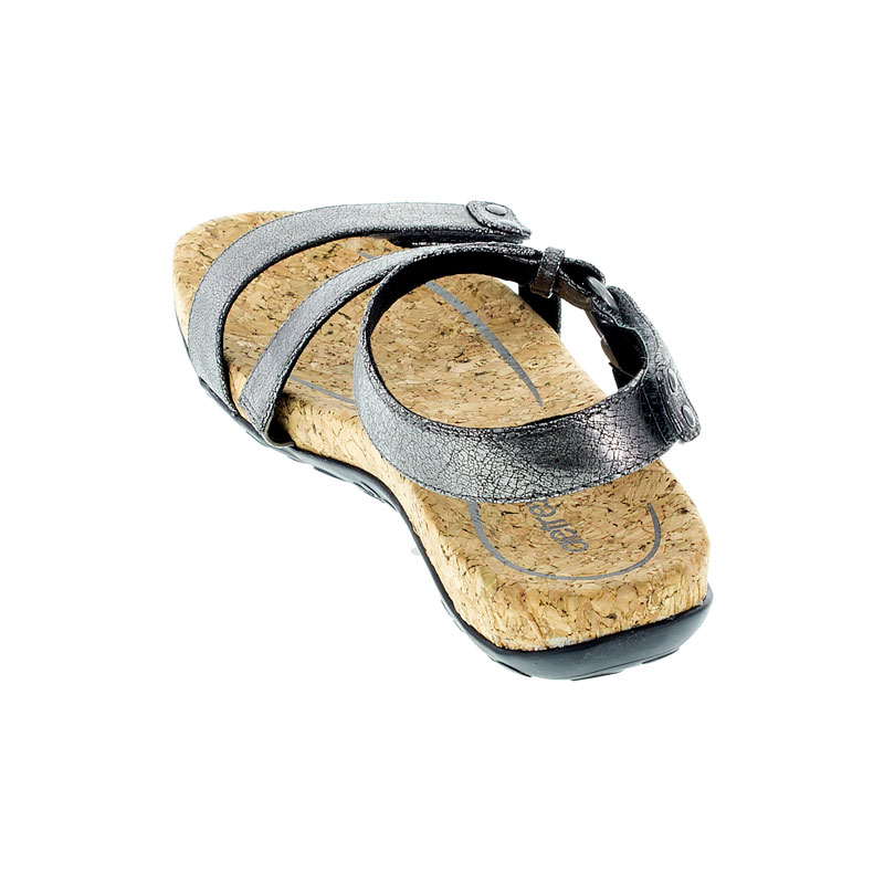 Aetrex Mackenzie Pewter Synthetic Vegan Sandals back view