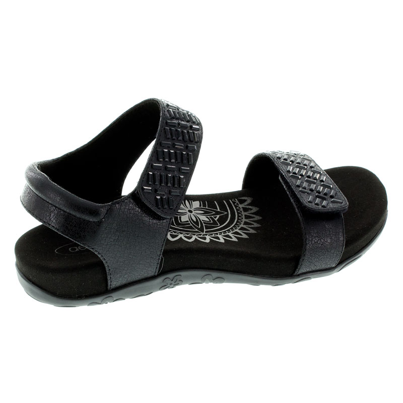 https://www.HappyFeet.com - Aetrex Marcy Black Synthetic Vegan 38