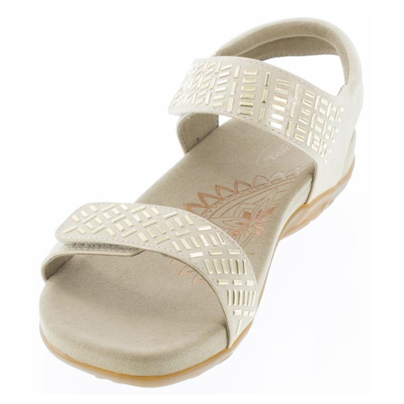 Aetrex Marcy Champagne Synthetic Vegan sandals left front view