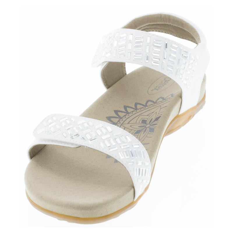 Aetrex Marcy White Synthetic Vegan sandals left front view