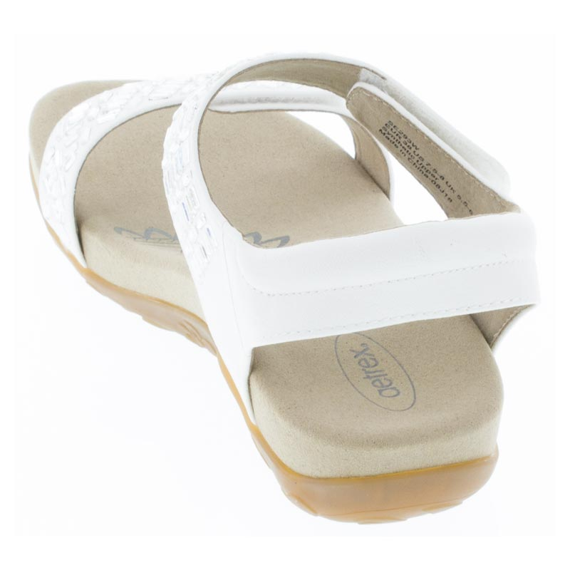 Aetrex Marcy White Synthetic Vegan sandals back view