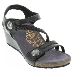 Aetrex Naya Leather Black Sandals