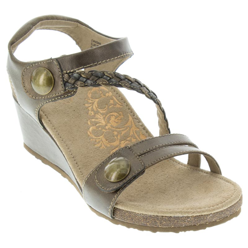 Aetrex Naya Leather Bronze Sandals