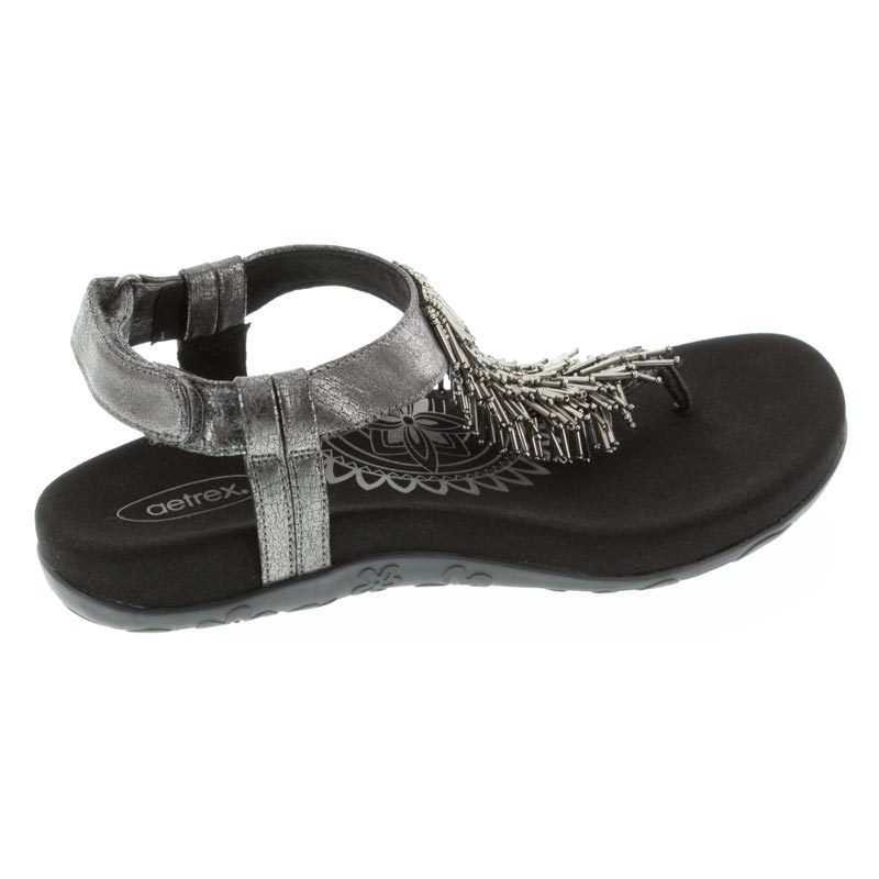 Aetrex Portia Black Synthetic Vegan sandals right side view