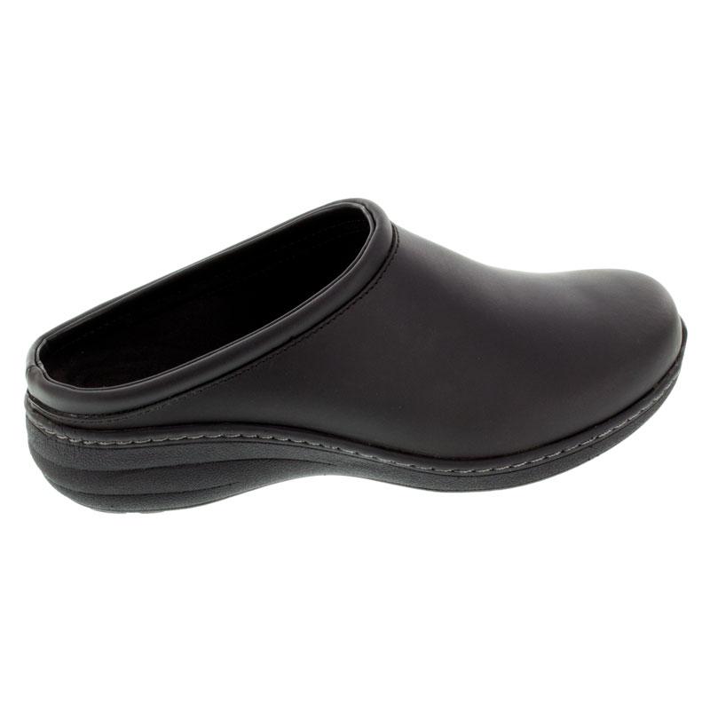 https://www.HappyFeet.com - Aetrex Robin Black Oiled Leather Slip-Resistant 42