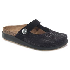 Aetrex Scarlett Leather Black Clogs