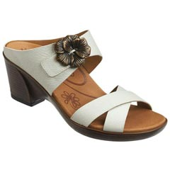 Aetrex Staci Leather Antique White Sandals