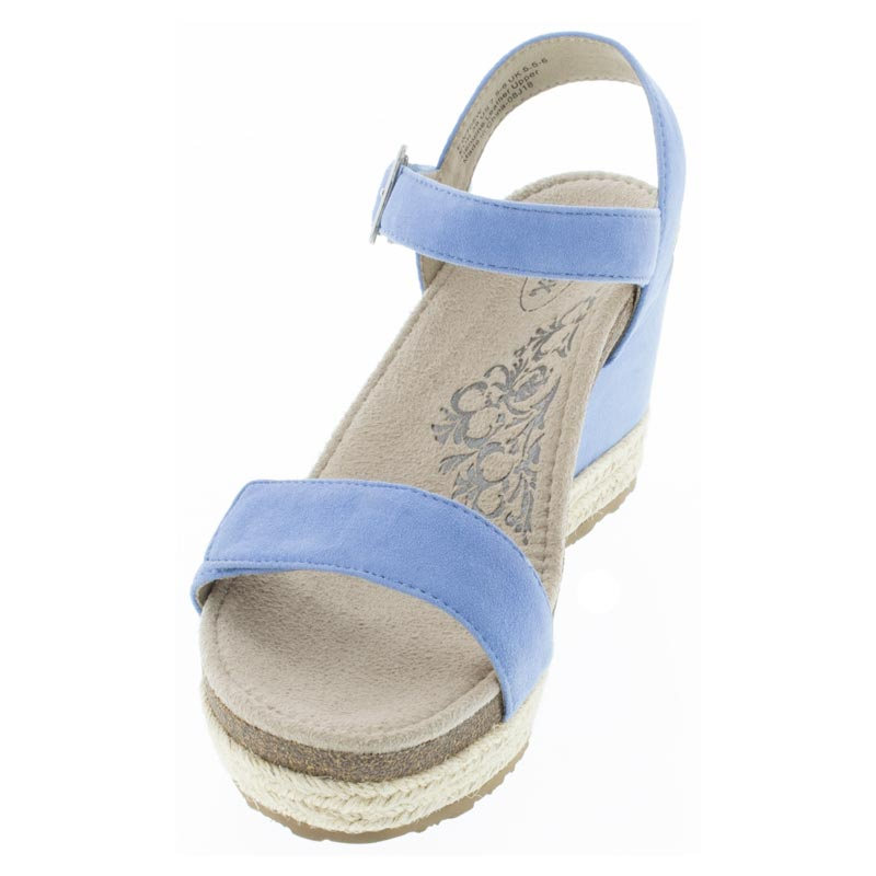 Aetrex Sydney Spring Blue Leather High Heel sandals left front view