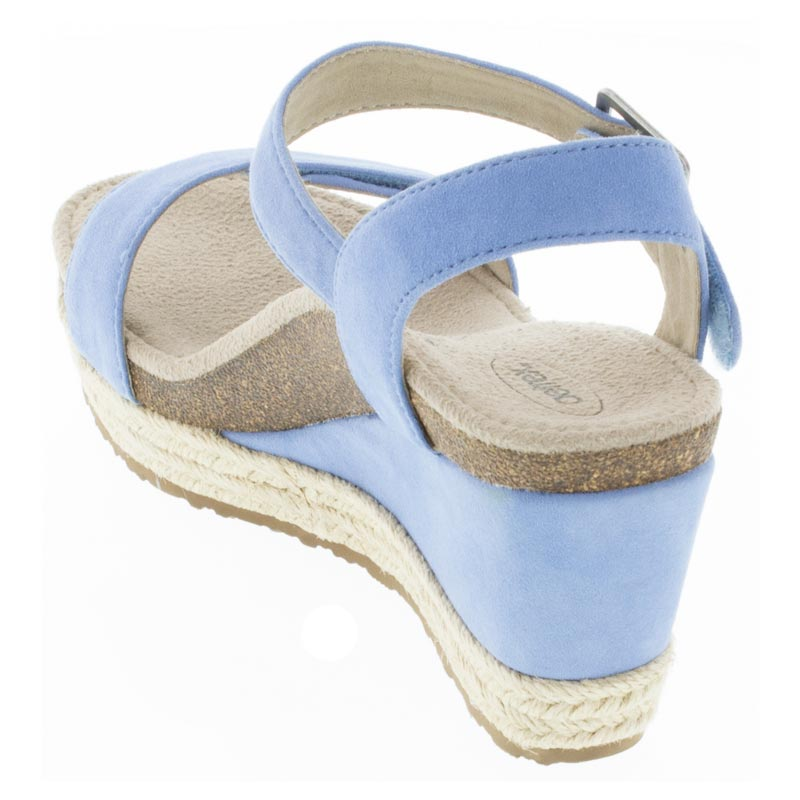 Aetrex Sydney Spring Blue Leather High Heel sandals back view