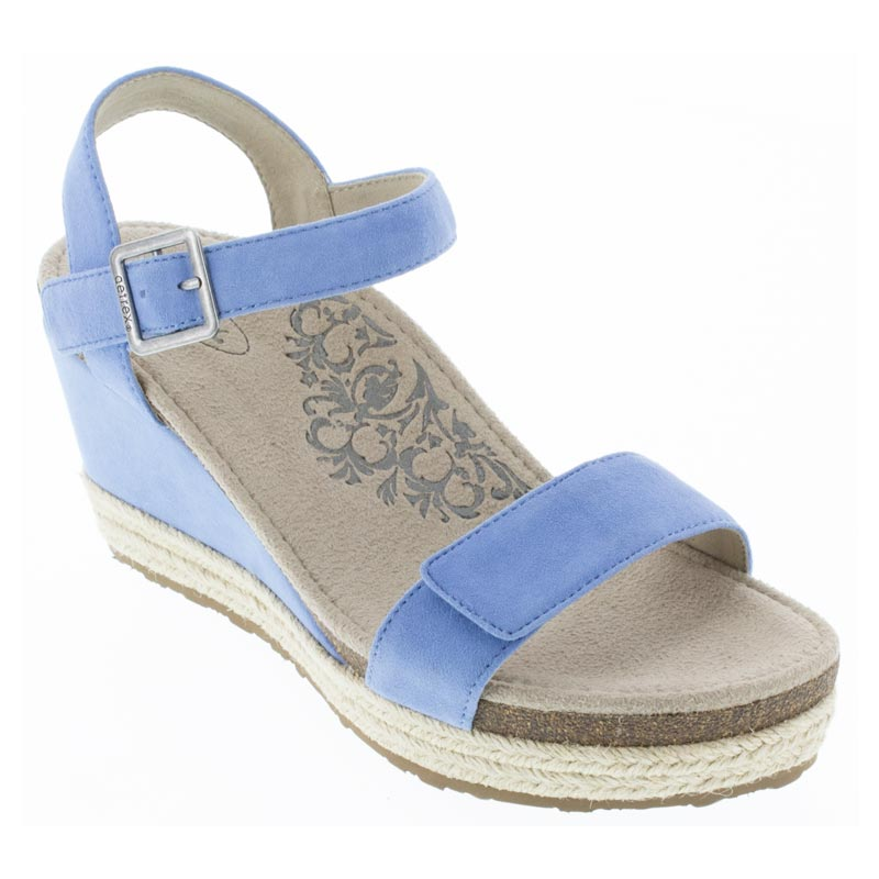 7ab3867bac6 Womens Aetrex Sydney Spring Blue Leather High Heel - Happyfeet.Com