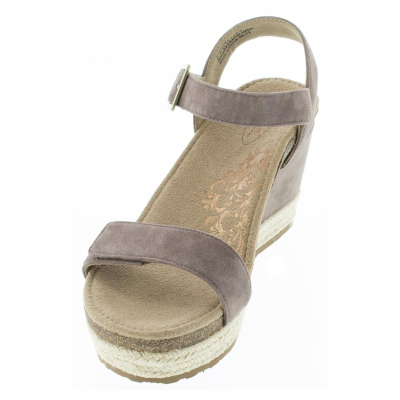 Aetrex Sydney Deep Taupe Leather High Heel sandals left front view