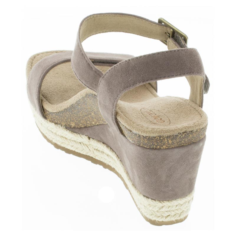 Aetrex Sydney Deep Taupe Leather High Heel sandals back view