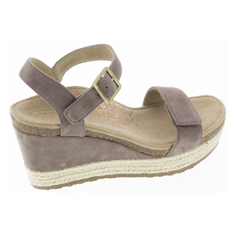 Aetrex Sydney Deep Taupe Leather High Heel sandals right side view