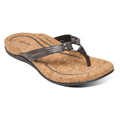 Aetrex Taylor Pewter Sandals