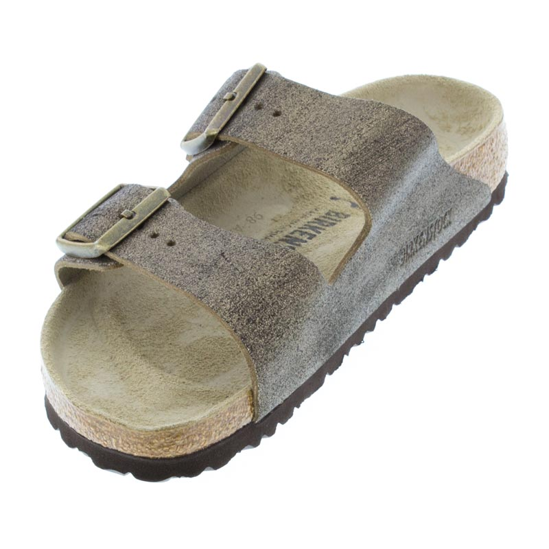 Birkenstock Arizona Washed Metallic Gold Leather left front view