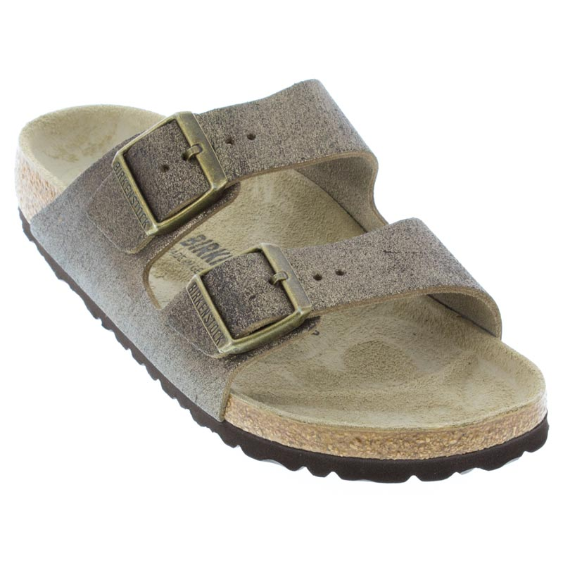 Birkenstock Arizona Washed Metallic Gold Sandals