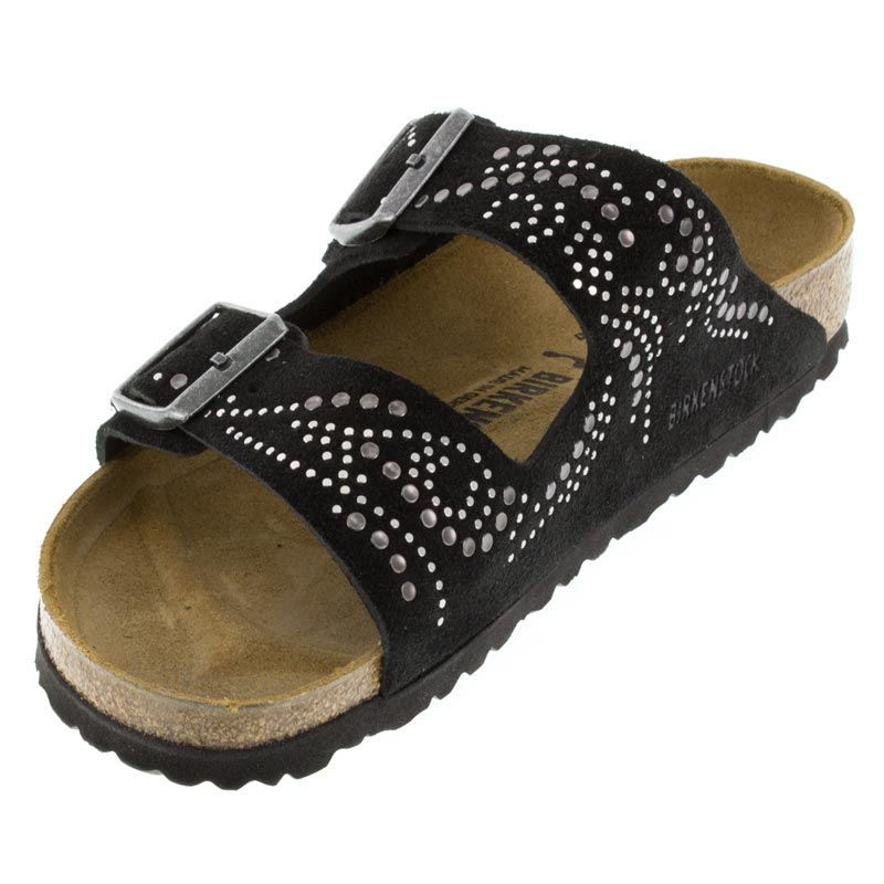 Birkenstock Arizona Black Suede sandals left front view