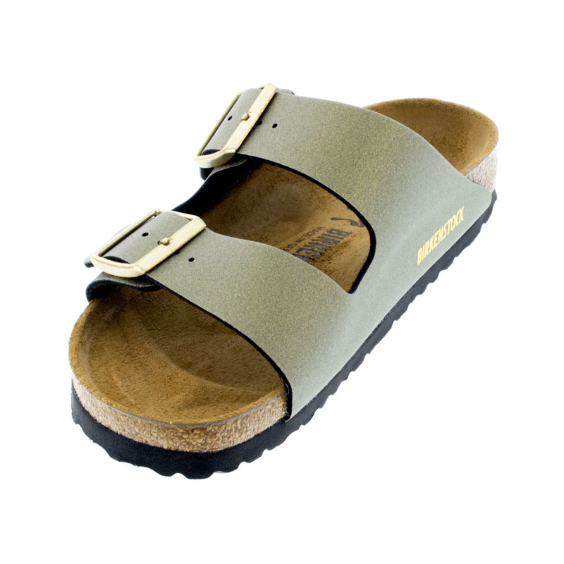 Birkenstock Arizona Icy Metallic Stone Gold Birko-Flor Sandals left front view