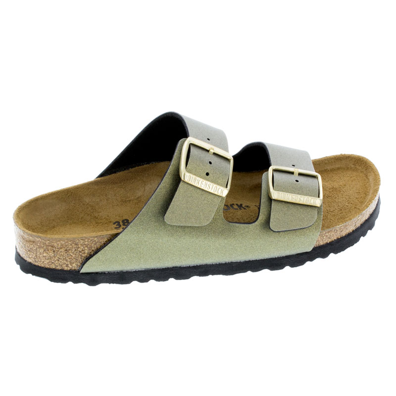 Birkenstock Arizona Icy Metallic Stone Gold Birko-Flor Sandals right side view