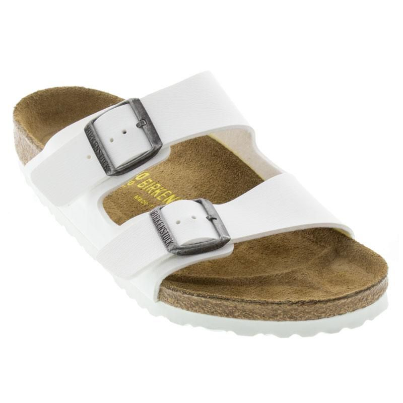 647a75df6f7 Womens Birkenstock Arizona White Birko-Flor - Happyfeet.Com