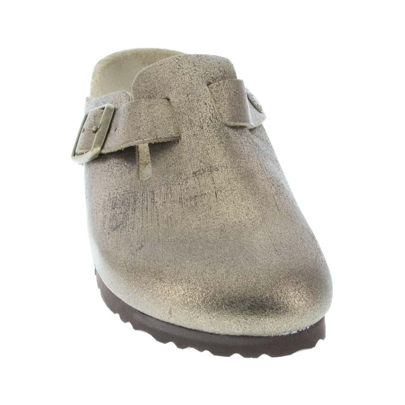 Birkenstock Boston Washed Metallic Gold Leather front view