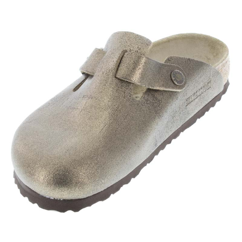 Birkenstock Boston Washed Metallic Gold Leather left front