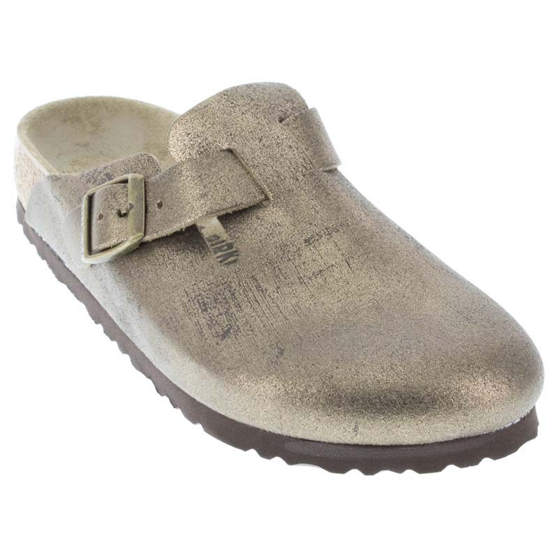 871eea96f137 Womens Birkenstock Boston Washed Metallic Gold Leather - Happyfeet.Com