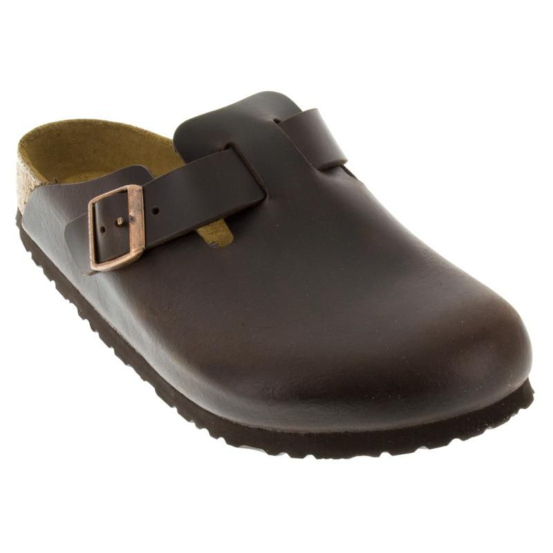 8cfa423c4cae Womens And Mens Birkenstock Boston Brown Leather Soft Footbed ...
