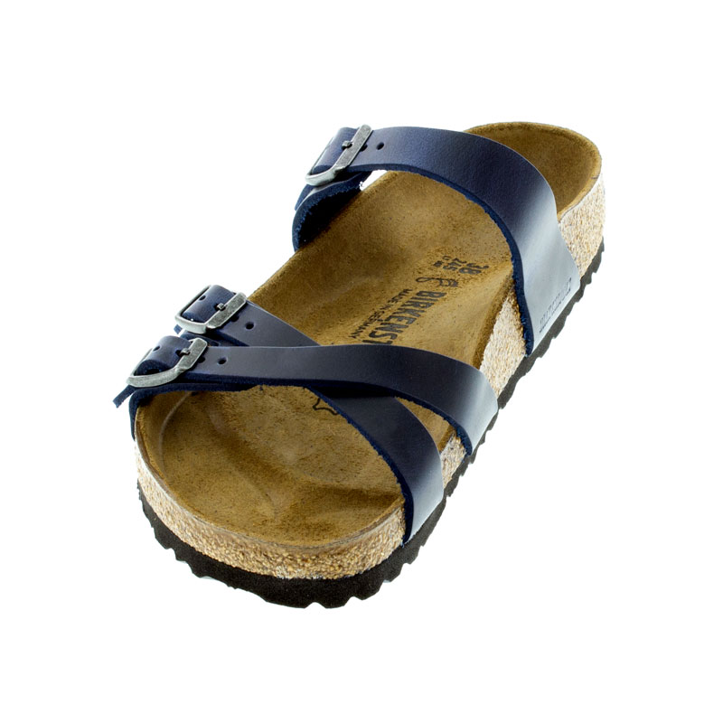 Birkenstock Franca Blue Oiled Leather Sandals left front view