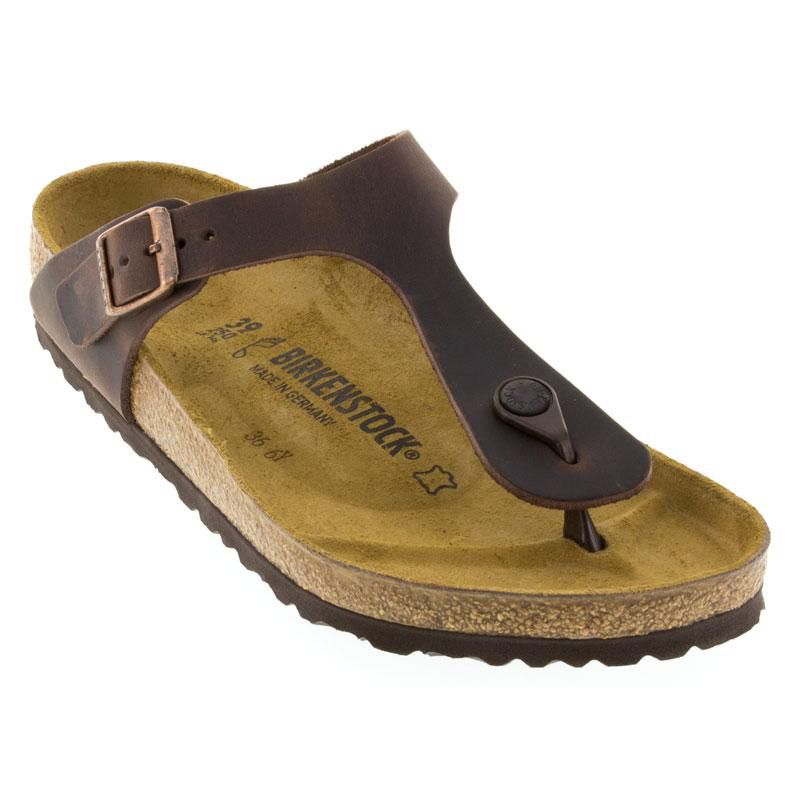7f741f09ff5c Womens And Mens Birkenstock Gizeh Habana Oiled Leather - Happyfeet.Com