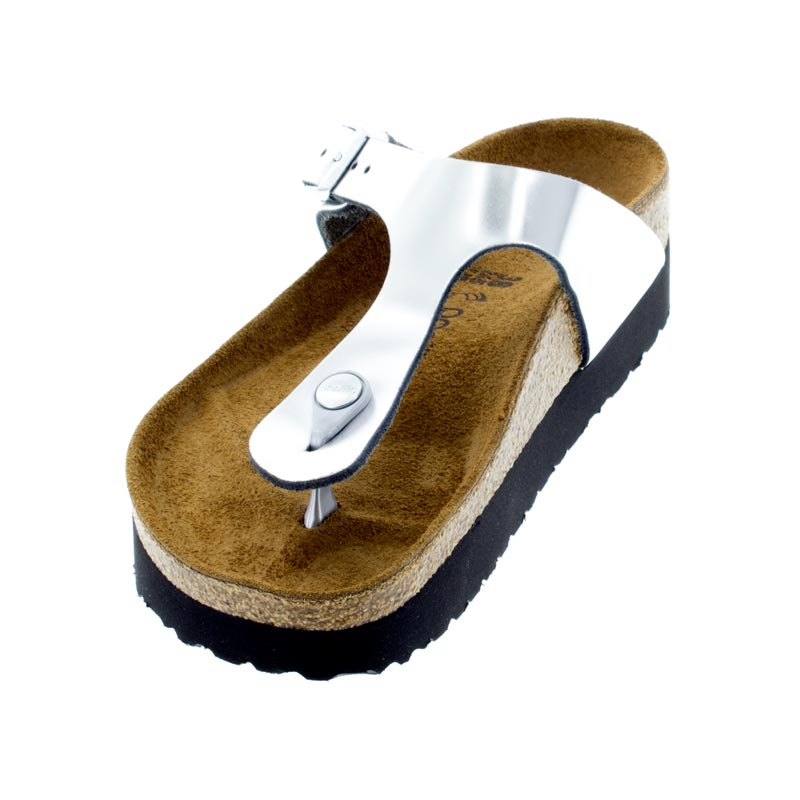 Birkenstock Gizeh Metallic Silver Leather left front view