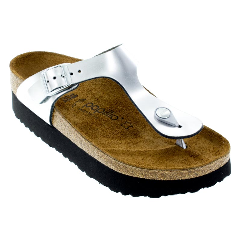 76eec549848 Womens Birkenstock Gizeh Metallic Silver Leather - Happyfeet.Com