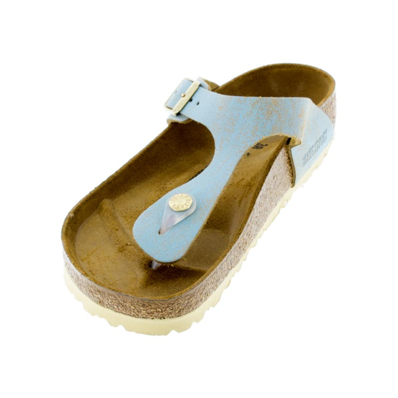 Birkenstock Gizeh Washed Metallic Aqua Leather Sandals left front view