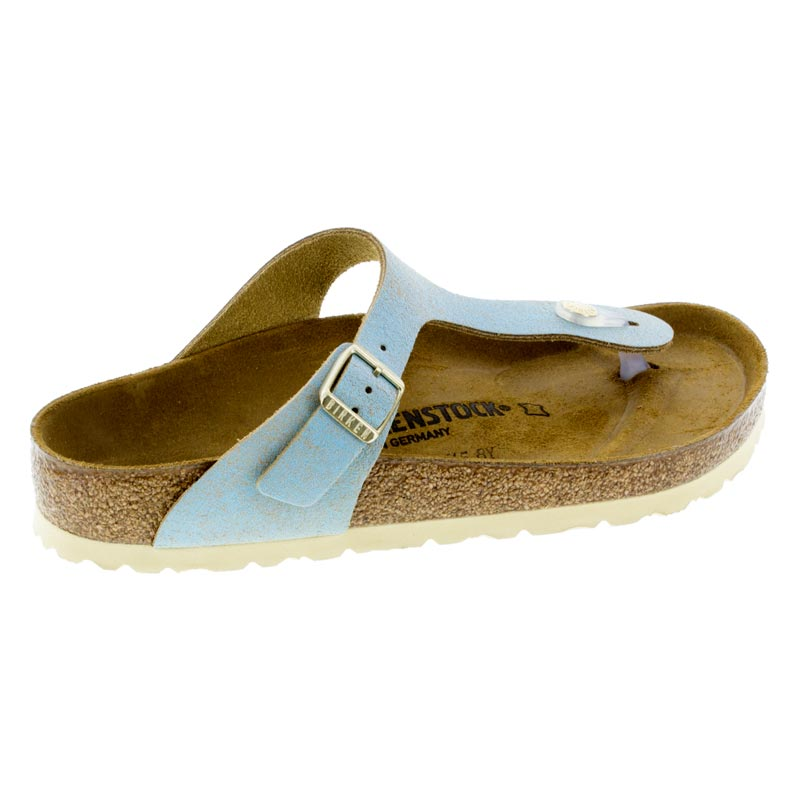 Birkenstock Gizeh Washed Metallic Aqua Leather Sandals right side view