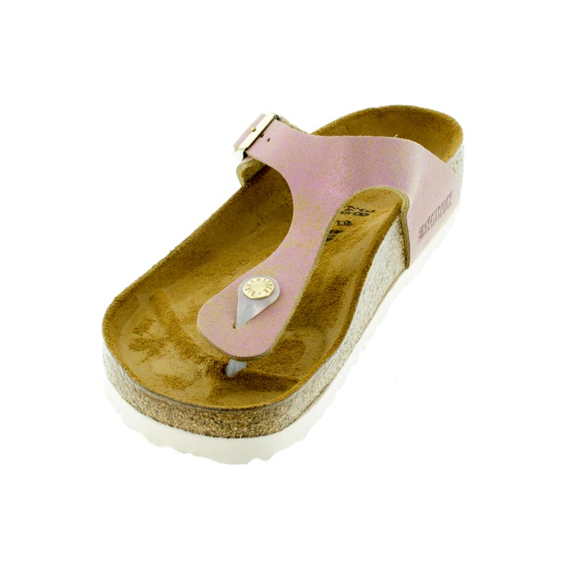 6eb31b4f68e Birkenstock Gizeh Washed Metallic Pink Leather Sandals left front view