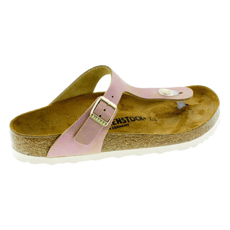 0dc24d33816 Birkenstock Gizeh Washed Metallic Pink Leather Sandals right side view