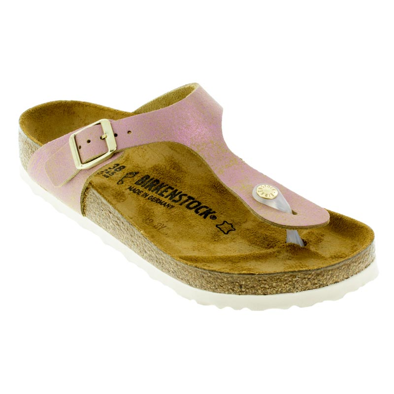 b186a137284 Womens Birkenstock Gizeh Washed Metallic Pink Leather - Happyfeet.Com