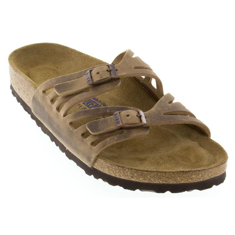 Womens Birkenstock Granada Tobacco Leather Soft Footbed - Happyfeet.Com