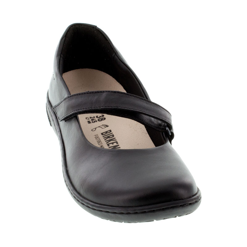 Birkenstock Lora Black Leather Shoes front view