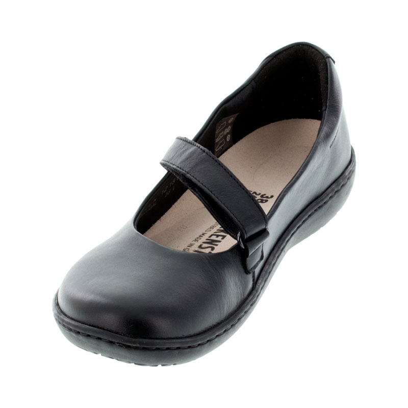 Birkenstock Lora Black Leather Shoes left front view