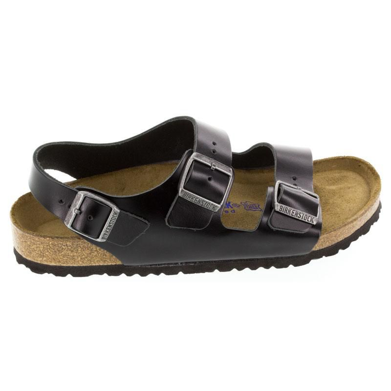 Birkenstock Milano Black Leather Soft Footbed