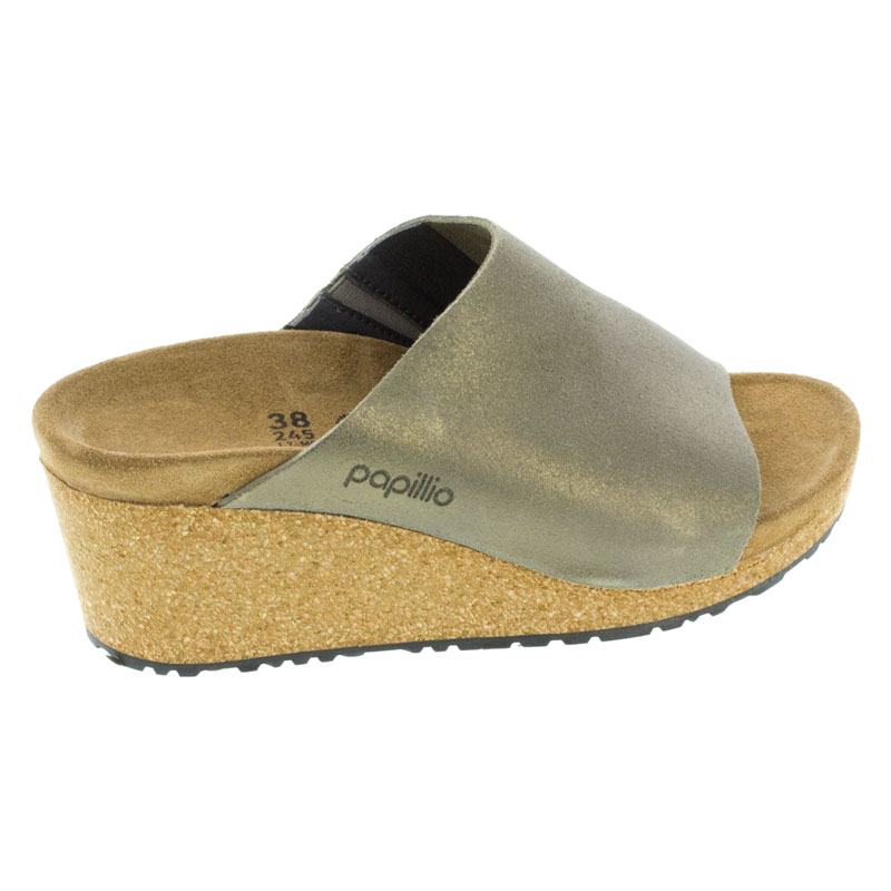 Birkenstock Namica Washed Metallic Stone Gold Leather High Heel