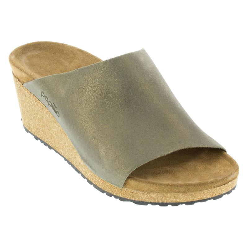 Birkenstock Namica Washed Metallic Stone Gold Leather High Heel 42 N